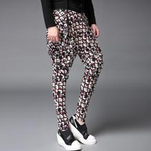 Winter autumn black slim lattice trousers mens ft pants harem pants males informal pants character homme pantalones hombre