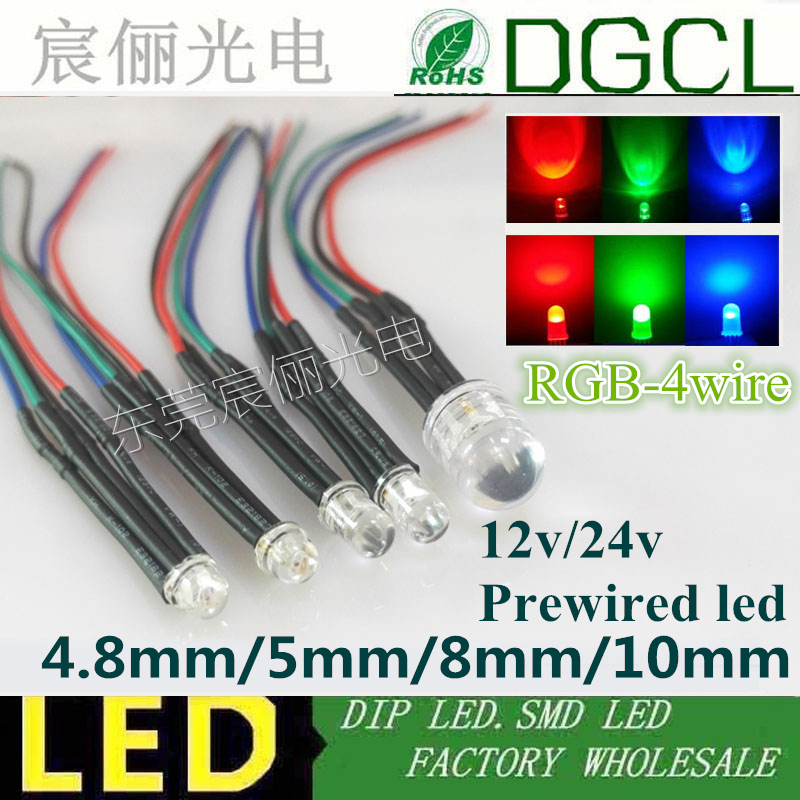 5mm 10mm RGB multicolor Pre wired 12V 24V 4 cable Red GREEN BLUE Tri color Pre