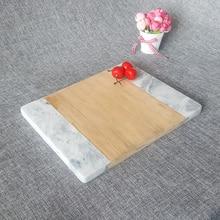 Натуральный Мрамор бамбуковая доска для сыра доска для фруктов блюдо для суши разделочные доски Coaster Сумасшедший декоративная тарелка кухонные инструменты