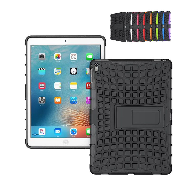 Heavy Duty Armor Case For Apple iPad Pro 9.7 Shockproof Back Cover Kickstand Stand Holder For iPad Pro 9.7  inch Case new black case for ipad pro 9 7 heavy duty plastic rubber cover case for apple ipad pro 9 7 hybrid 3in 1 with stand holder