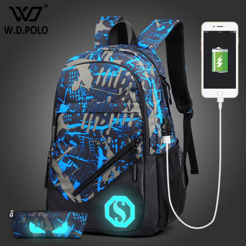 WDPOLO New Design USB Charging Men s Backpacks Male Casual backpack Student School Bags high capacity