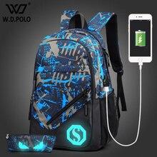 Wdpolo Новый Дизайн зарядка через USB мужские рюкзаки мужские повседневные Рюкзак Студент Школьные сумки Высокая производительность компьютера сумки AA097