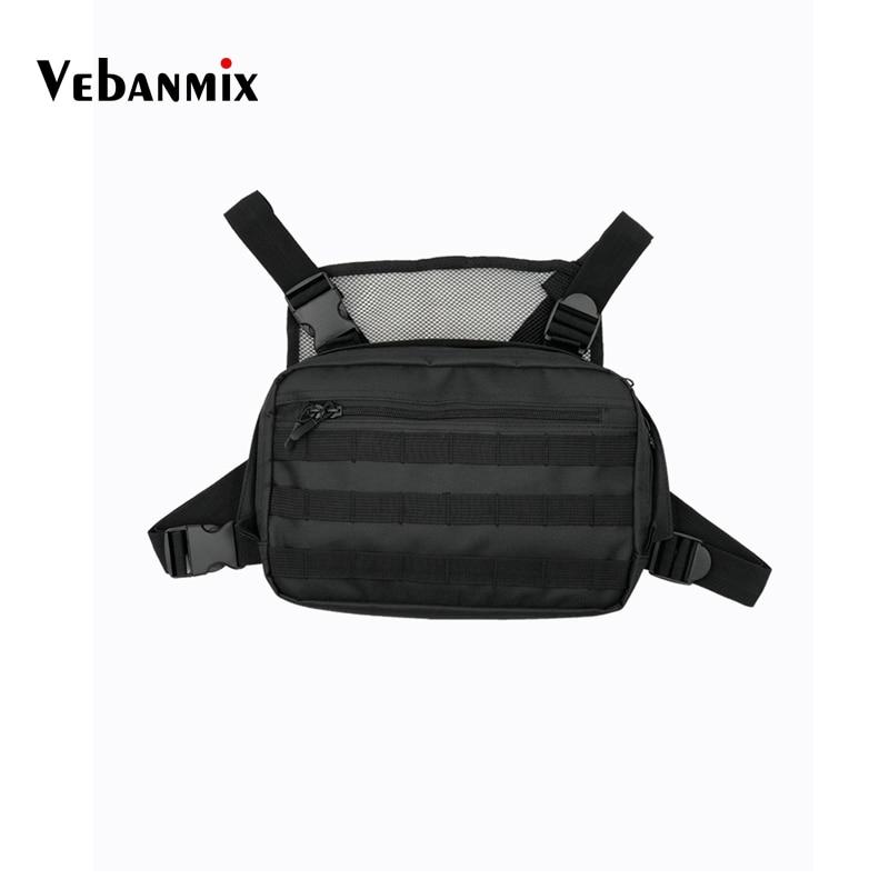 Men Tactical Bag Chest Vest Chest Rig Hip Hop Streetwear Adjustable Oxford Black