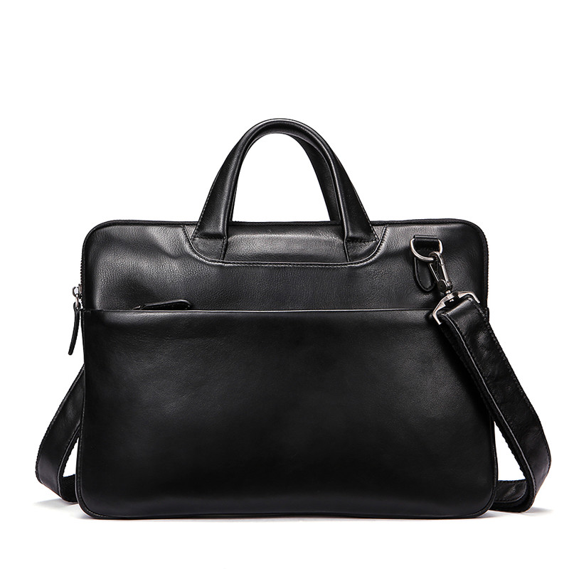 Business man large capacity handbag leather horizontal style casual briefcase
