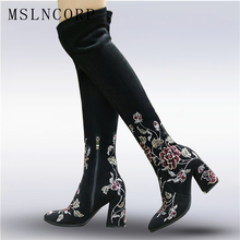 Plus Size 34-43 Autumn Winter Genuine Leather Women Flower Shoes Lady High Heel Long Boots Embroidered Over Knee High Snow Boots недорого