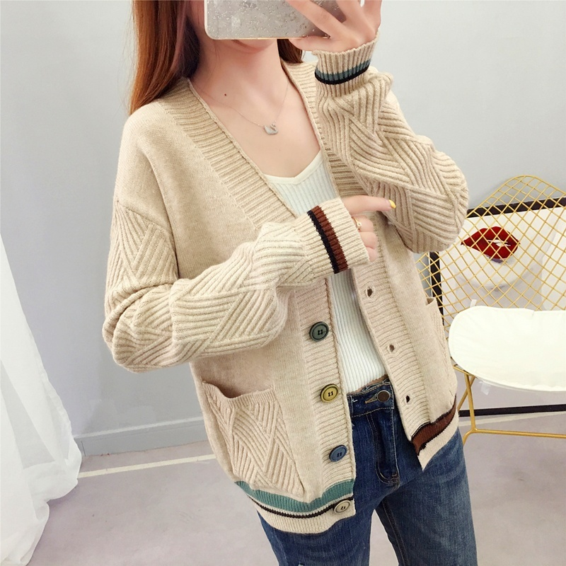 Spring Autumn Women Cardigan Sweater V neck Pocket Sweater Women Knitted Jacket Loose Long Sleeve Tops in Cardigans from Women 39 s Clothing
