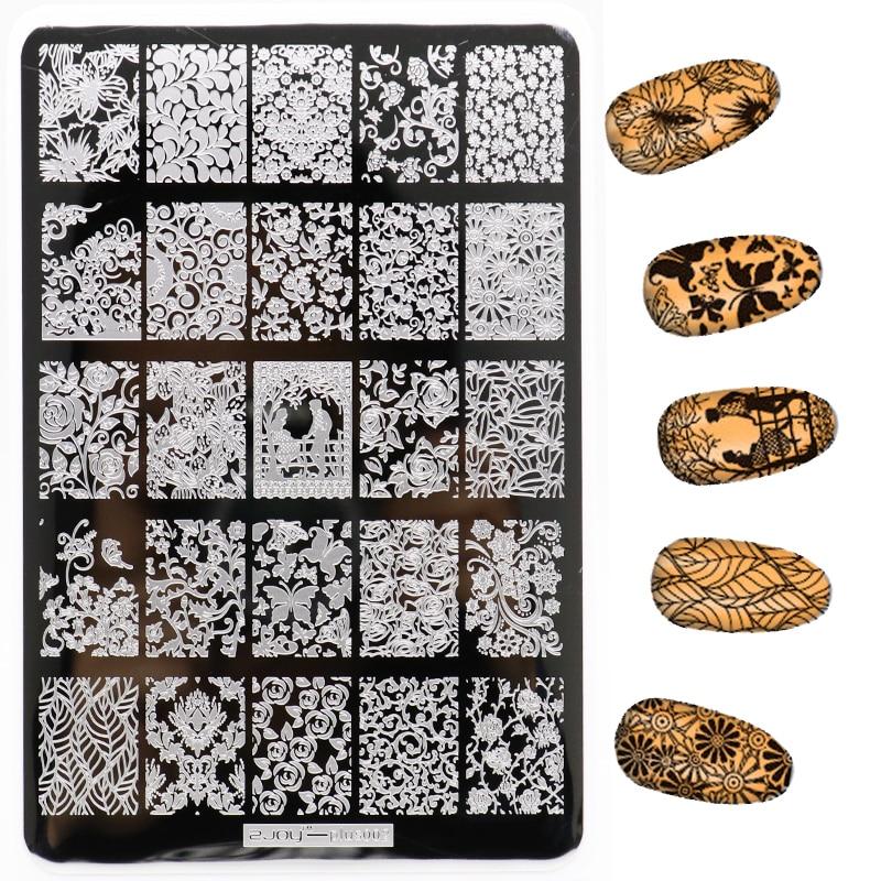 Nuevo 1 Unids 9.5 * 14.5 CM Patrón de Flores Nail Art Placas de - Arte de uñas