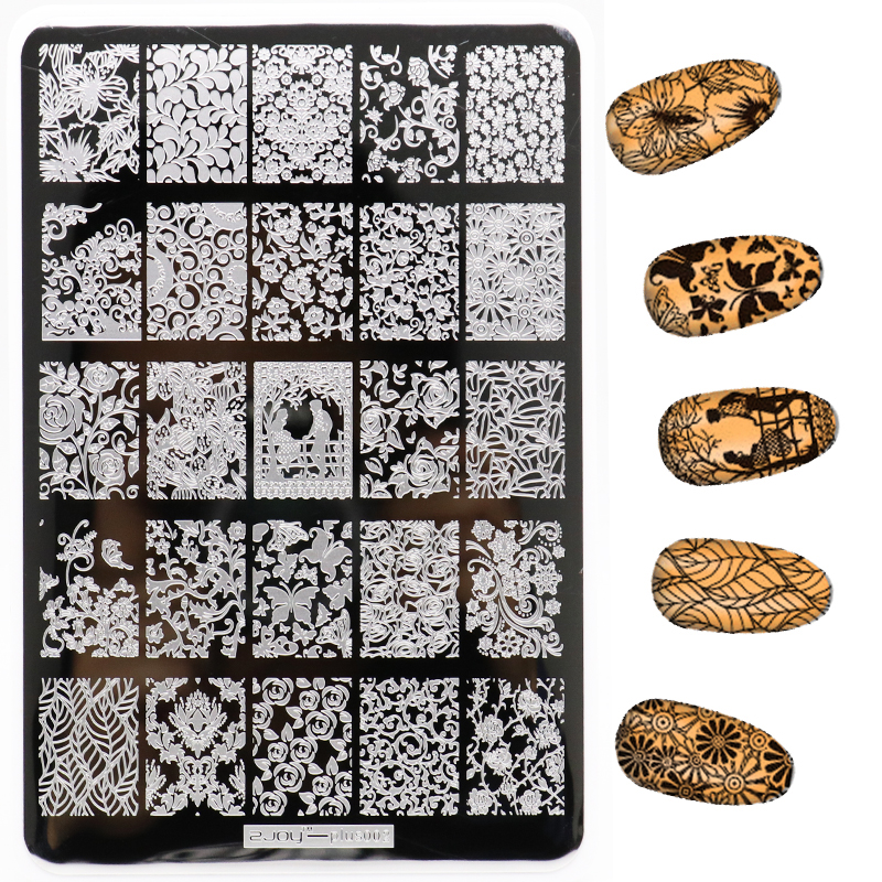 Nieuwe 1 Stks 9.5 * 14.5 CM Bloemen Patroon Nail Art Stempelen Platen - Nagel kunst