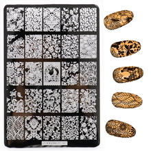 Nye 1 stk 9,5 * 14,5 cm blomstermønster Nail Art Stamping Plates Konad Stamping Nail Image Maler Manicure Nail Stamps
