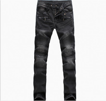 New BP Mens Fashion Runway Biker Slim Stratch Washed Denim Jeans Knee Pleated Men High Fashion Moto Punk Jeans Size 28-38(China)