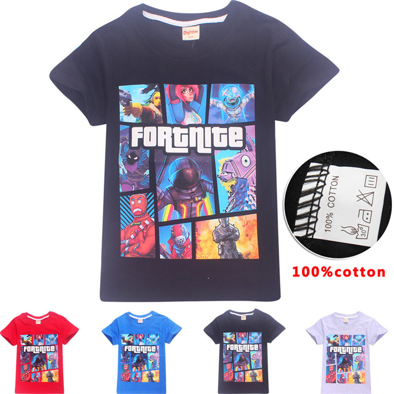 2018 Summer Children 100% Cotton T-shirt Boys Girls Fashion Game Fortnite Cartoon Fashion T shirt Kids Cool Clothing 6-14 Years