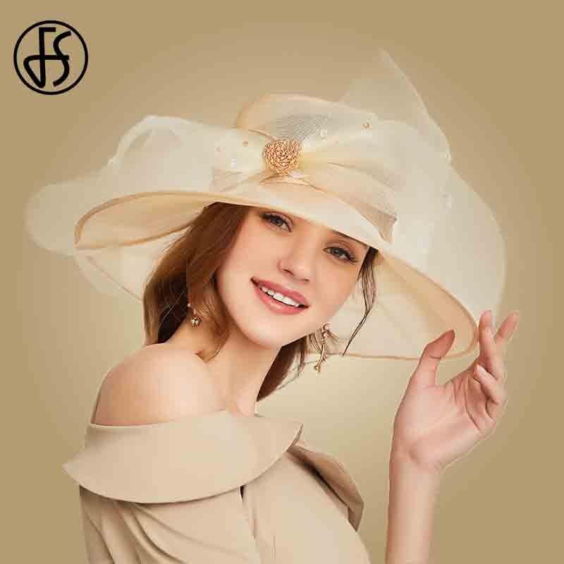 FS Beige White Organza Wide Brim Sun Hats For Women Summer Church Hats Women Elegant Kentucky Derby Hat Ladies Big Bow Fedora