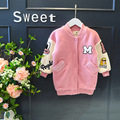 Мода мультфильм дети куртки для девочек зима Флис Пальто розовый однобортный теплый утолщение Детской одежды девочка верхняя одежда