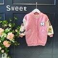 Historieta de la manera niños chaquetas para niñas invierno Fleece Coat pink Solo pecho caliente engrosamiento ropa muchacha de Los Niños prendas de vestir exteriores