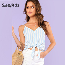 SweatyRocks Button Placket Knot Front Cami Top 2018 Summer V Neck Striped Crop Top Women Blue Vacation Cami Vest