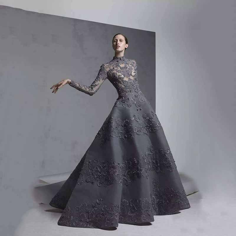 Black Sheer Bodice Evening High Neck Illusion Long Sleeves Vestido De Festa Lace Beaded Robe De