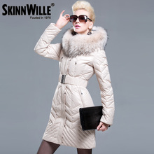 skinnwille2016 fashion thickening large fur collar down coat women medium-long winter new arrival woman winter coats and jackets