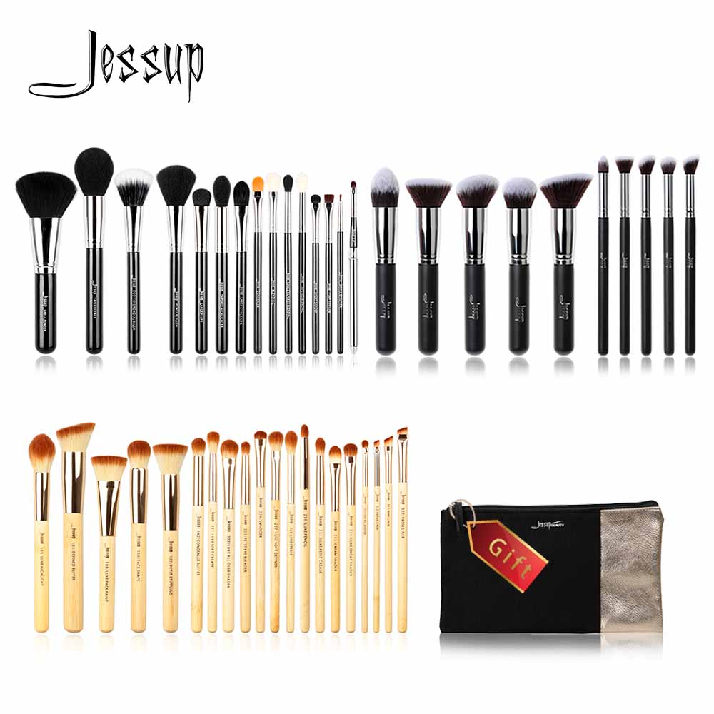 Jessup Buy 3 get 1 gift professional Makeup Brushes set Foundation blush Liquid Kabuki make up brush Beauty Cosmetic bag Powder coswall high quality wall power 5 way socket plug grounded 16a eu standard electrical quintuple outlet 430 mm 86 mm