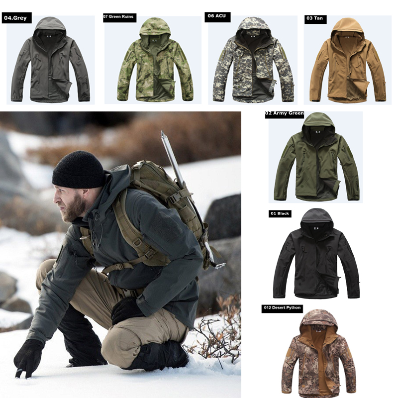 Hot ! Military Winter Hunting Clothes Softshell TAD Tactical Outdoor Hiking Climbing Camouflage Sport Jacket Or Pants or fabric camouflage leaf headgear