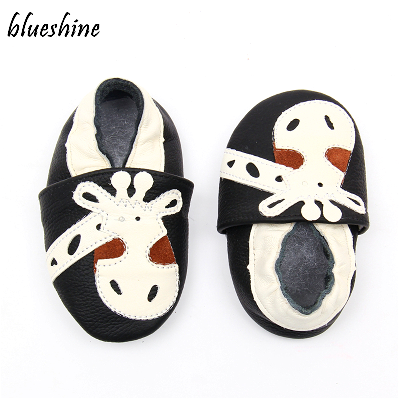 Cartoon Cute Giraffe Baby First Walkers Soft Leather Baby Boys Girls Slippers Moccasins 0-6 6-12 12-18M Skid-Proof Baby Shoes