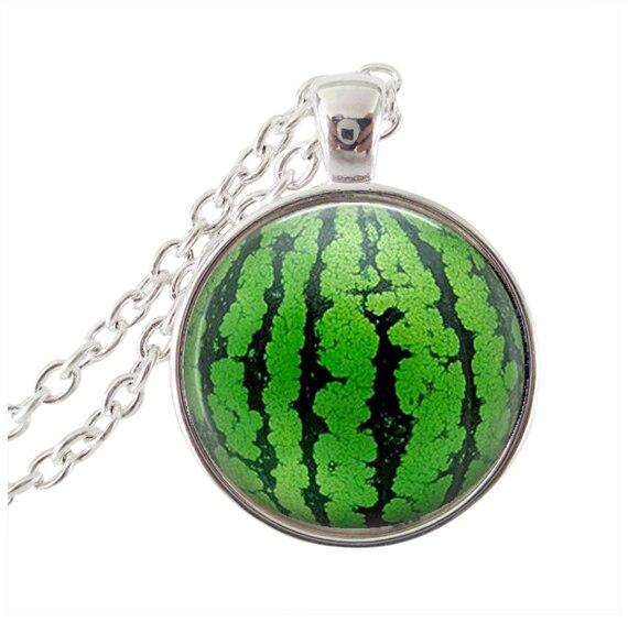 d0ce69ab871 Pastèque collier fruits bijoux en verre cabochon melon pendentif argent à  longue chaîne neckless femmes bijoux collier colliers cadeaux