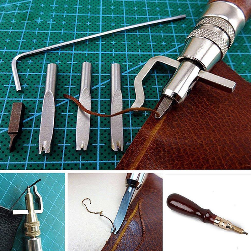 Practical 5 In 1 DIY Leather Craft Pro Stitching Groover Crease Leather Tool Set P5