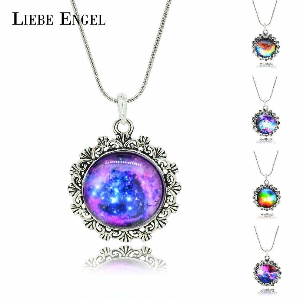 a0eb50a1c1f5 Liebe Engel moda de cristal Cabochon collar y colgante vintage color plata  joyas más nuevo collar de la Declaración de La Luna Joyería fina