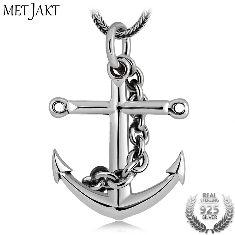 MetJakt Vintage 925 Silver Anchor Pendant with Sterling Silver Snake Chain Necklace & Sterling Silver Unisex Punk Jewelry men 925 sterling silver necklace with 4 mm classic round snake chain necklace the punk style silver ornament gift for boyfriend
