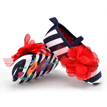 Baby Toddler Stripe First Walkers Flower Crib Shoes Soft Sole Kid Girls Infant Shoes Prewalker