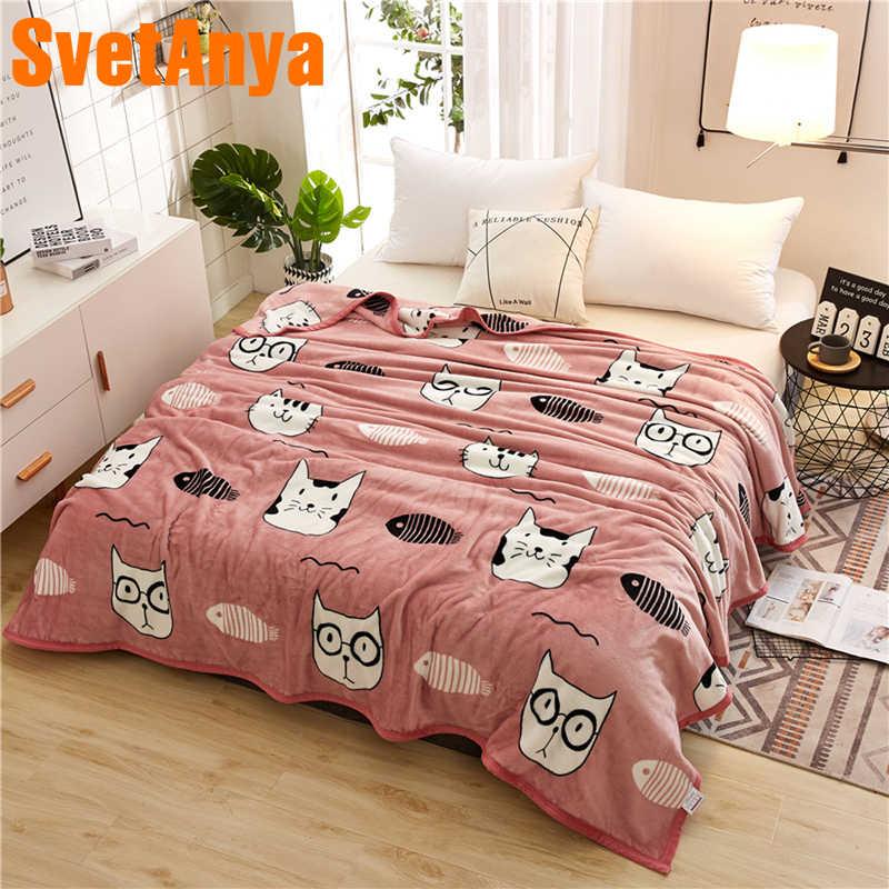 Svetanya кошка мультфильм одеяло диван броски зима теплый лист - 11.11_Double 11_Singles