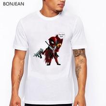 Summer 2019 American Comic Badass Deadpool t shirt men Cartoon Characters t-shirt homme Funny shirts tops summer white tshirt