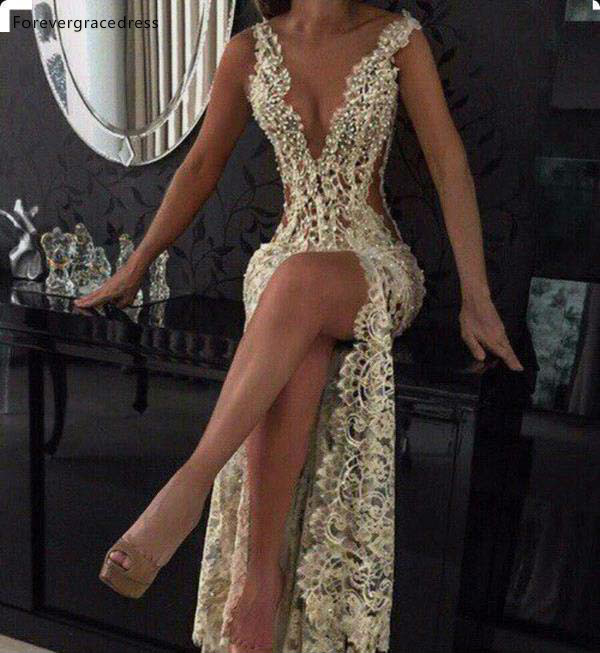 2019 Cheap Plunging V Neck Evening Dress Newest Full Lace Side Cutaway Formal Celebrity Holiday Wear Prom Party Gown Custom Made