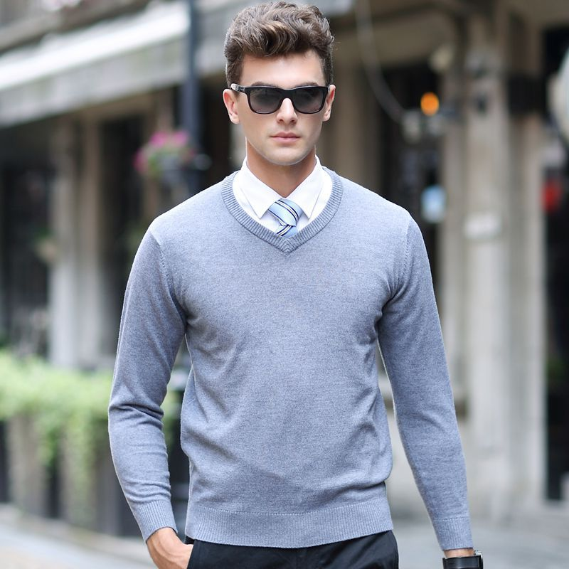Plus Size M-3XL men sweater Autumn Winter 2019 Brand Casual Pullover Men Slim Fit V Neck Patchwork Quality Knitted Male Sweaters