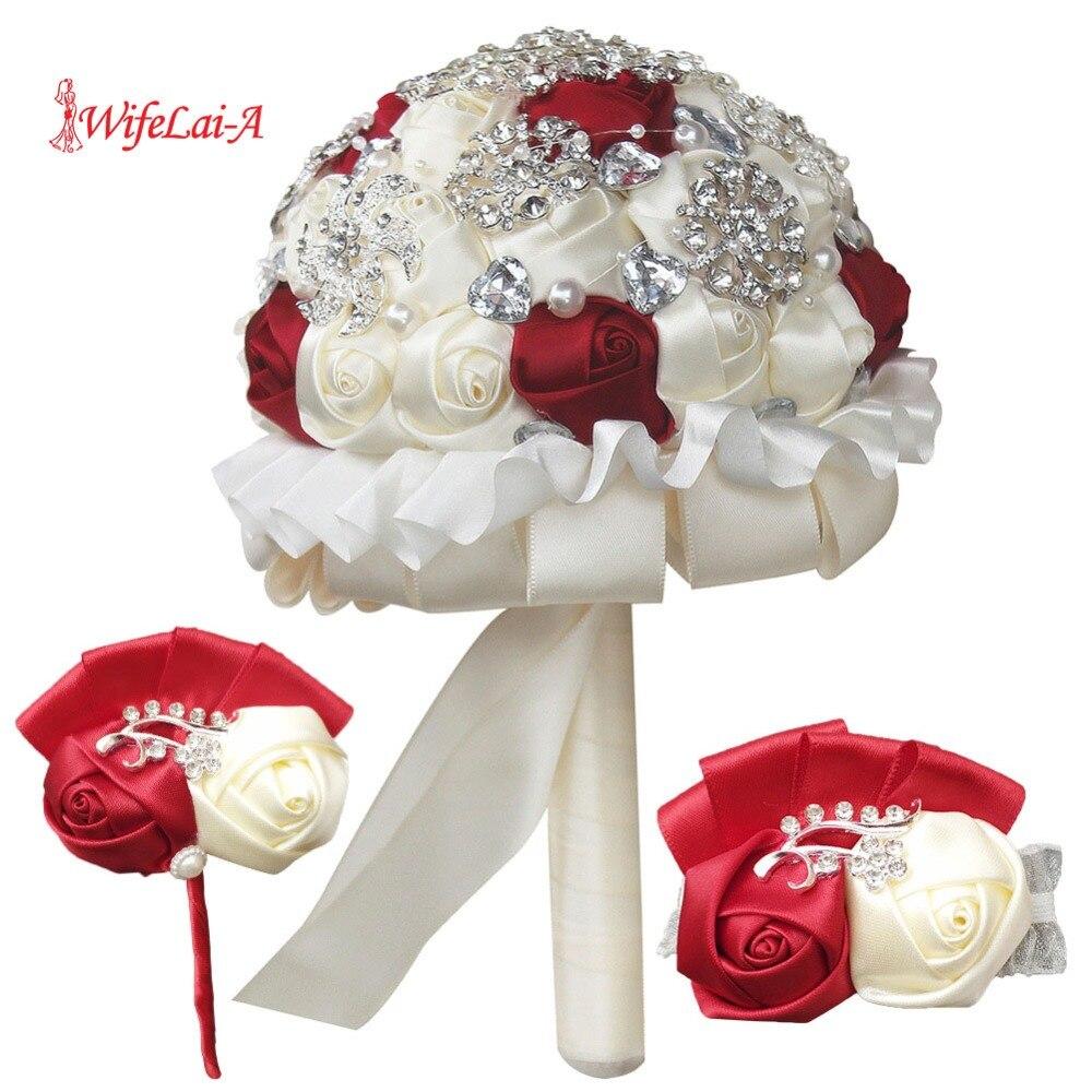 WIFELAI A アイボリーローズ装飾ブライダルウェディング花嫁介添人姉妹手首の花とブートニア結婚式ブライダルブーケセット T1317 3  グループ上の ウェディング & イベント からの ウェディング ブーケ の中 1