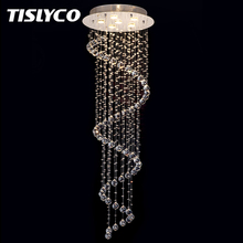 New LED Modern K9 Crystal Chandeliers Lamp lustres de cristal Double Staircase Spiral
