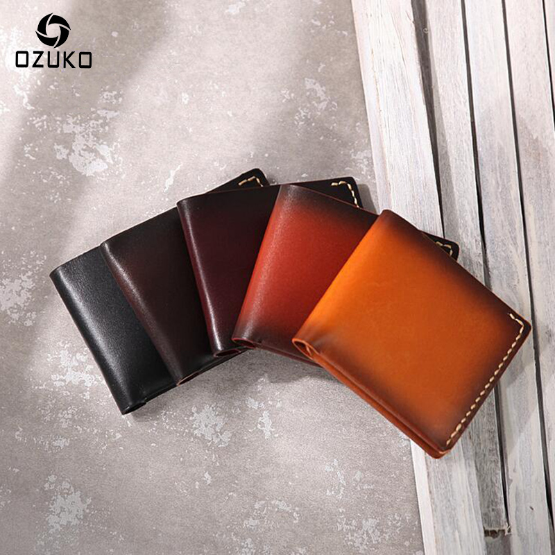OZUKO Genuine Leather Men Wallets Minimalist Fashion Vintage Male Wallet 100% Top Quality Card Holder Purse Leather Made by Hand