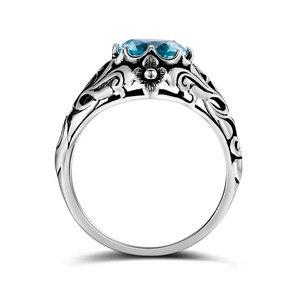 Image 2 - Szjinao Sky Blau Aquamarin Ring 925 Silber Für Frauen Punk 2,1 ct Vintage Edelstein Hochzeit Engagement Luxus Marke Edlen Schmuck