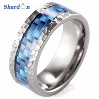 SHARDON Wedding jewelry Men's ring Titanium ring inlay with blue carbon fiber hammered wedding band with silver color
