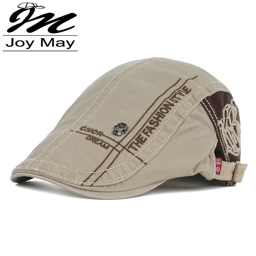 JOYMAY New Summer Cotton Berets Caps For Men Casual Peaked Caps letter embroidery Berets Hats Casquette Cap Y005(China)