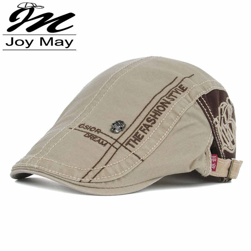 JOYMAY New Summer Cotton Berets Caps For Men Casual Peaked Caps letter embroidery  Berets Hats Casquette db9226e5927e