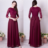 Burgundy bridesmaid dress long Floral lace formal gown with sleeves Modest plus size 3/4 sleeves