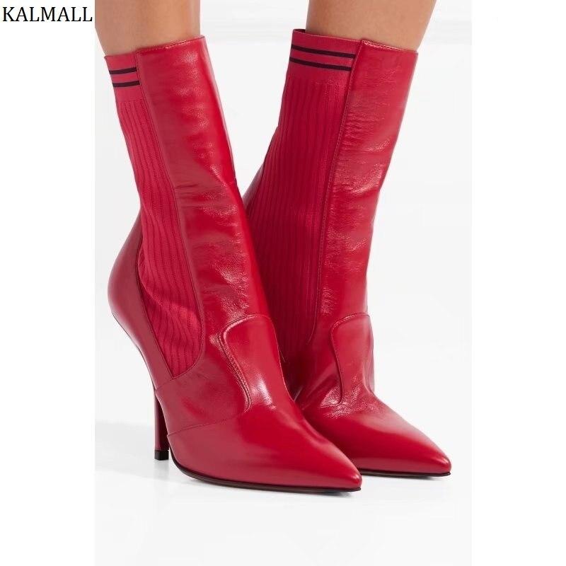 Femmes Cheville red D'hiver Courtes Tricot Stiletto Botas Rouge Extensible Bottes Piste Pointu Bout Mujer Talons Kalmall Black Style qT1IxcwFqt