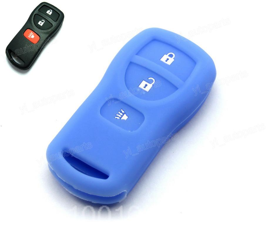 Blue Silicone Soft Case Cover Fit For Nissan Armada Versa Titan Frontier Xterra Quest Pathfinder Quest Remote Key 3 Buttons