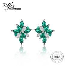 Jewelrypalace flor forma 2.5ct verde creado nano ruso clip en los pendientes de esmeralda sólido 925 joyería de plata esterlina para las mujeres