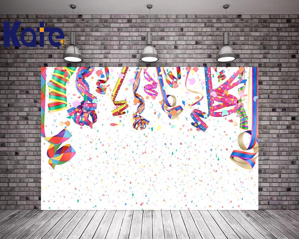 Kate Custom Made Happy Birthday Theme Background Photo Backdrop White Background Colorful Fireworks Colored Ribbon Backdrop сумка kate spade new york wkru2816 kate spade hanna