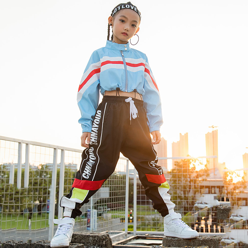 db1056d41 Hip Hop Dance Costumes Long Sleeved Jacket Black Pants Street Stage Clothes  Child Dance Jazz Outfits