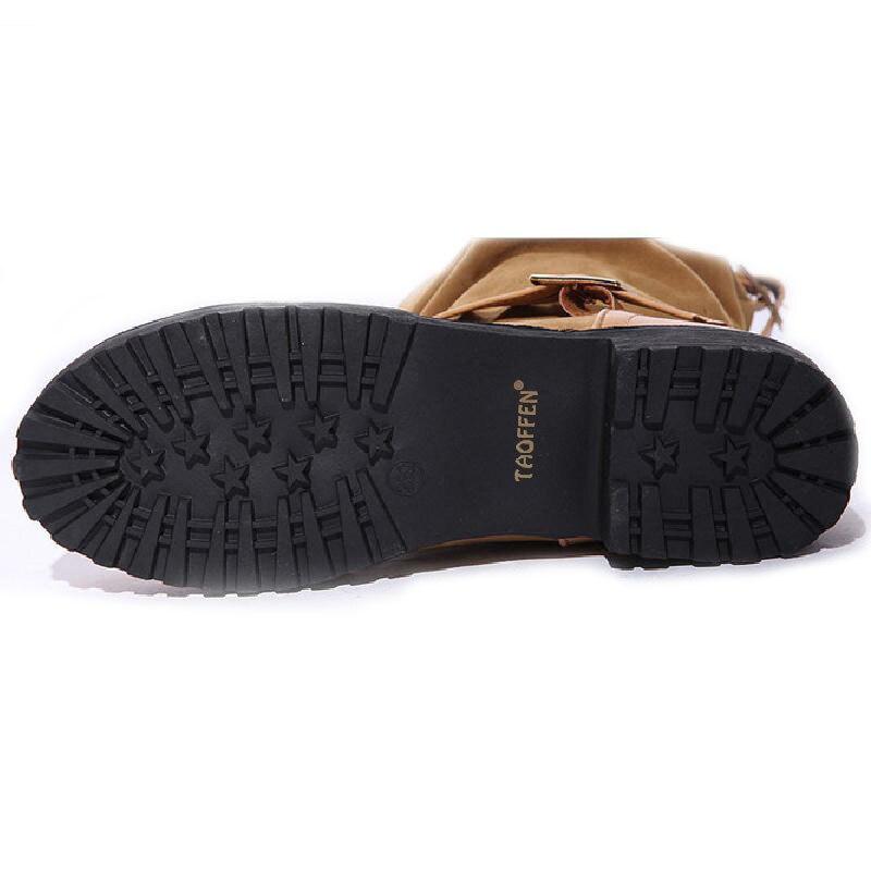 43 mollet Bout Demi Femmes Bota Mi Boot Chaud Taoffen Hiver marron Plat Noir Qualité rouge Automne Courtes 34 Rond Boucle Chaussures Taille Bottes nHqz4xzp