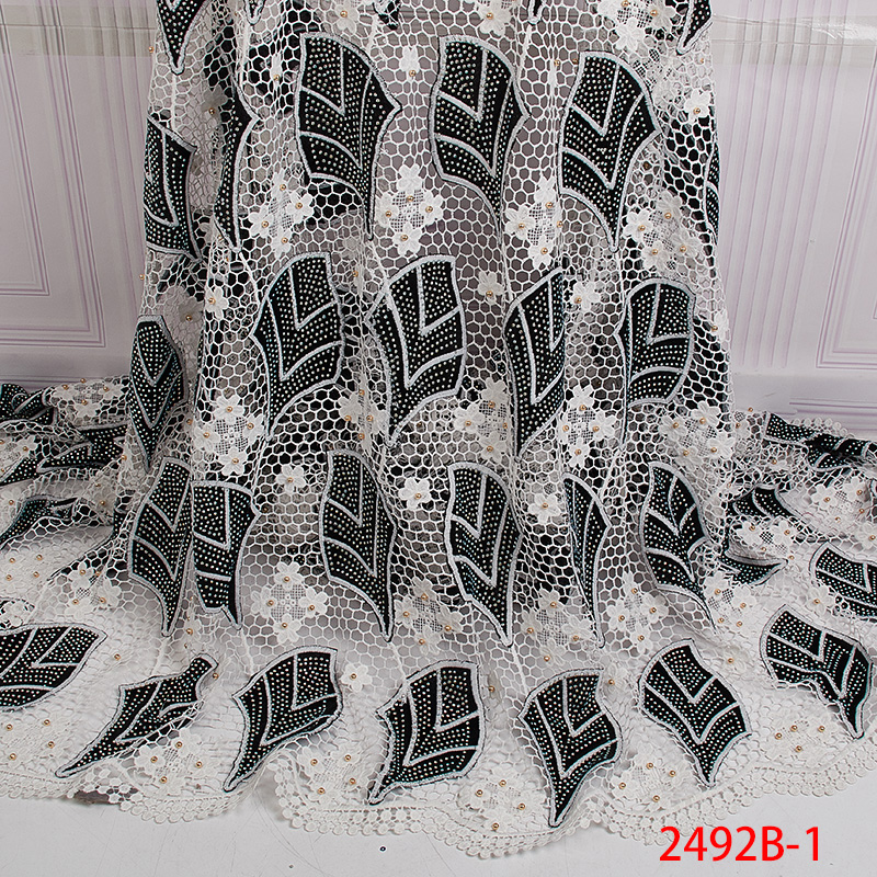 Wysokiej jakości tkanina z francuską koronką 2019 ostatnie afryki gipiury koronki tkaniny z haftem koronki tkaniny dla kobiet sukienka APW2492B w Koronka od Dom i ogród na  Grupa 2