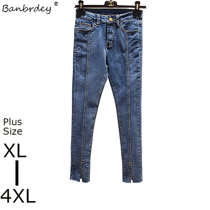 2018 Autumn Women Plus Size Jeans Pants Female High Quality High Waisted Hole Loose Trousers Elastic Stretch Pencil Denim Pants