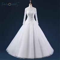 Vestido de noiva sereia Pełna Rękawy V Powrót Custom Made Muzułmaninem Suknie Ślubne Długi Biały/Kość Słoniowa Suknie Ślubne Satynowe ASAW92